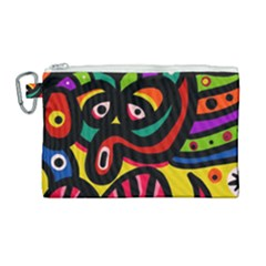 A Seamless Crazy Face Doodle Pattern Canvas Cosmetic Bag (large) by Jojostore