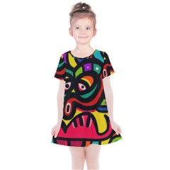 A Seamless Crazy Face Doodle Pattern Kids  Simple Cotton Dress by Jojostore