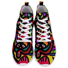 A Seamless Crazy Face Doodle Pattern Men s Lightweight High Top Sneakers by Jojostore