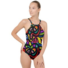 A Seamless Crazy Face Doodle Pattern High Neck One Piece Swimsuit