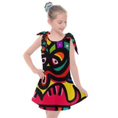 A Seamless Crazy Face Doodle Pattern Kids  Tie Up Tunic Dress by Jojostore
