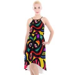 A Seamless Crazy Face Doodle Pattern High Low Halter Chiffon Dress