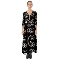 Anchor Pattern Button Up Boho Maxi Dress