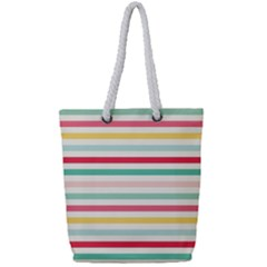 Papel De Envolver Hooray Circus Stripe Red Pink Dot Full Print Rope Handle Tote (small)
