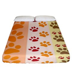 Paw Print Paw Prints Fun Background Fitted Sheet (king Size) by Jojostore