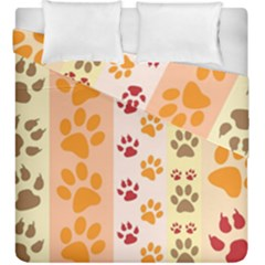 Paw Print Paw Prints Fun Background Duvet Cover Double Side (king Size) by Jojostore