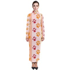 Paw Print Paw Prints Fun Background Turtleneck Maxi Dress
