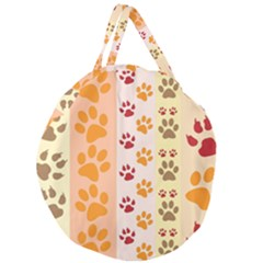 Paw Print Paw Prints Fun Background Giant Round Zipper Tote
