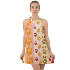 Paw Print Paw Prints Fun Background Halter Tie Back Chiffon Dress by Jojostore