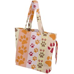 Paw Print Paw Prints Fun Background Drawstring Tote Bag by Jojostore