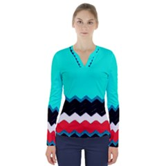 Pattern Digital Painting Lines Art V Neck Long Sleeve Top
