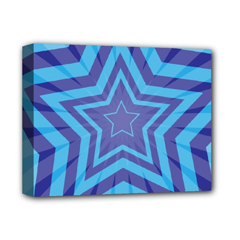 Abstract Starburst Blue Star Deluxe Canvas 14  X 11  (stretched) by Jojostore