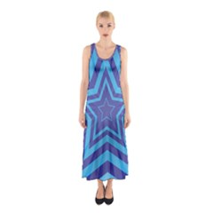 Abstract Starburst Blue Star Sleeveless Maxi Dress