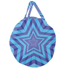 Abstract Starburst Blue Star Giant Round Zipper Tote