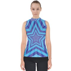 Abstract Starburst Blue Star Mock Neck Shell Top by Jojostore