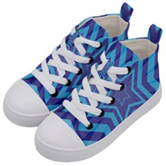Abstract Starburst Blue Star Kid s Mid-top Canvas Sneakers by Jojostore