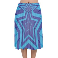 Abstract Starburst Blue Star Velvet Flared Midi Skirt by Jojostore