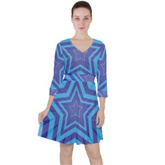 Abstract Starburst Blue Star Ruffle Dress