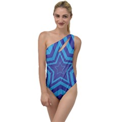 Abstract Starburst Blue Star To One Side Swimsuit