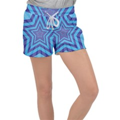 Abstract Starburst Blue Star Women s Velour Lounge Shorts
