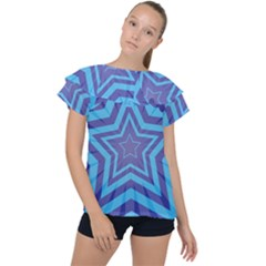 Abstract Starburst Blue Star Ruffle Collar Chiffon Blouse by Jojostore