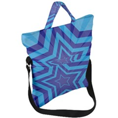 Abstract Starburst Blue Star Fold Over Handle Tote Bag by Jojostore
