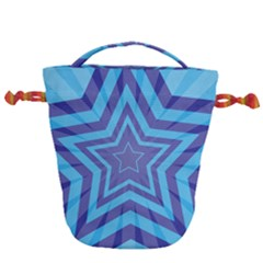 Abstract Starburst Blue Star Drawstring Bucket Bag by Jojostore