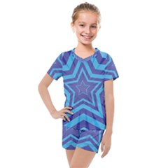 Abstract Starburst Blue Star Kids  Mesh Tee And Shorts Set