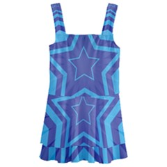Abstract Starburst Blue Star Kids  Layered Skirt Swimsuit by Jojostore
