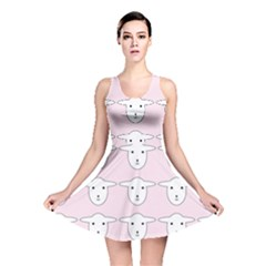 Sheep Wallpaper Pattern Pink Reversible Skater Dress