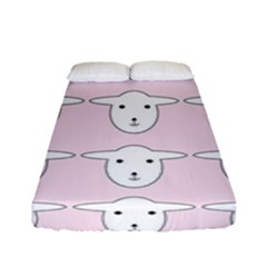 Sheep Wallpaper Pattern Pink Fitted Sheet (full/ Double Size) by Jojostore