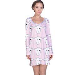 Sheep Wallpaper Pattern Pink Long Sleeve Nightdress