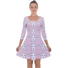 Sheep Wallpaper Pattern Pink Quarter Sleeve Skater Dress