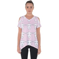 Sheep Wallpaper Pattern Pink Cut Out Side Drop Tee