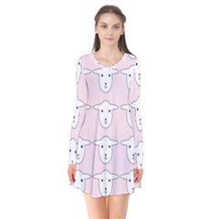 Sheep Wallpaper Pattern Pink Long Sleeve V Neck Flare Dress