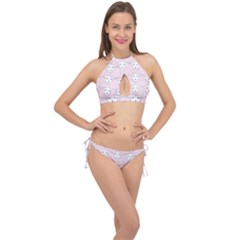 Sheep Wallpaper Pattern Pink Cross Front Halter Bikini Set