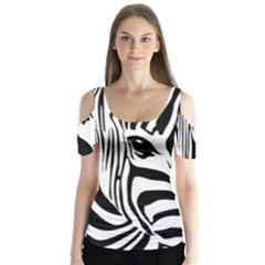 Animal Cute Pattern Art Zebra Butterfly Sleeve Cutout Tee