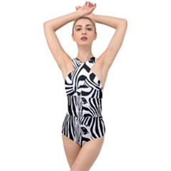 Animal Cute Pattern Art Zebra Cross Front Low Back Swimsuit
