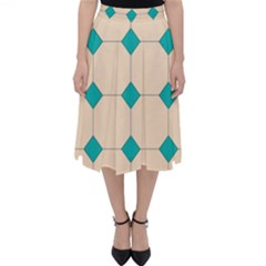 Tile Pattern Wallpaper Background Classic Midi Skirt