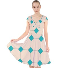 Tile Pattern Wallpaper Background Cap Sleeve Front Wrap Midi Dress