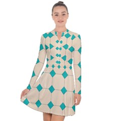 Tile Pattern Wallpaper Background Long Sleeve Panel Dress