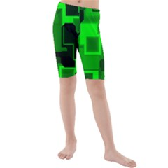 Cyber Glow Kids  Mid Length Swim Shorts