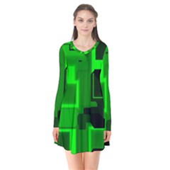 Cyber Glow Long Sleeve V Neck Flare Dress by Jojostore