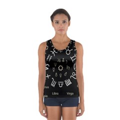 Astrology Chart With Signs And Symbols From The Zodiac, Gold Colors Sport Tank Top