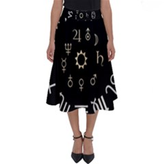 Astrology Chart With Signs And Symbols From The Zodiac, Gold Colors Perfect Length Midi Skirt