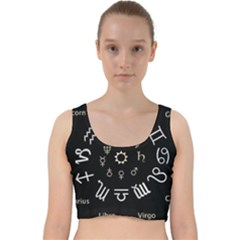 Astrology Chart With Signs And Symbols From The Zodiac, Gold Colors Velvet Racer Back Crop Top by Jojostore