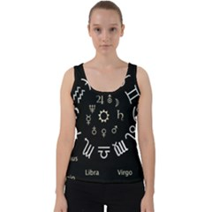 Astrology Chart With Signs And Symbols From The Zodiac, Gold Colors Velvet Tank Top
