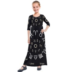Astrology Chart With Signs And Symbols From The Zodiac, Gold Colors Kids  Quarter Sleeve Maxi Dress