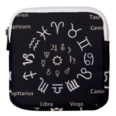 Astrology Chart With Signs And Symbols From The Zodiac, Gold Colors Mini Square Pouch