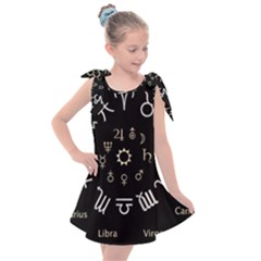 Astrology Chart With Signs And Symbols From The Zodiac, Gold Colors Kids  Tie Up Tunic Dress